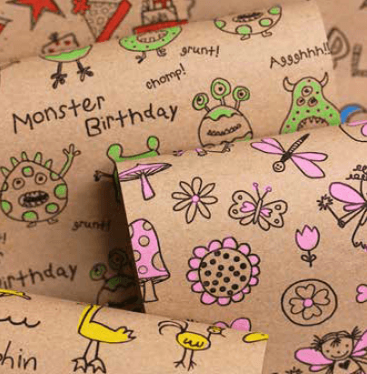 Printed Kraft Paper Gift Wrap Pack 1 Roll - 3M - Doodles