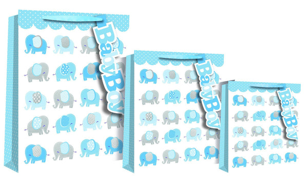 Baby Boy - Elephant Design Gift Bag - Medium size 22 x 10 x 25cm