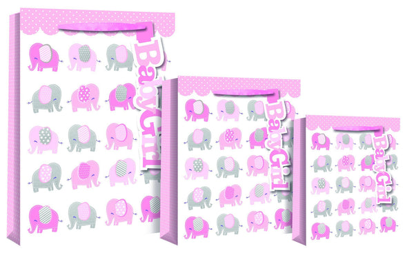 Baby Girl - Elephant Design Gift Bag - Medium size 22 x 10 x 25cm
