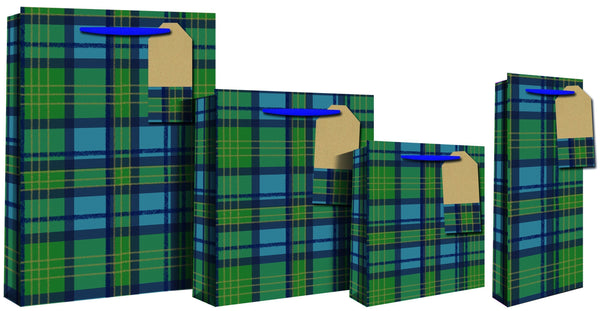 Blue Tartan Design Gift Bag 46 x 10 x 33cm - Blue & Green Check - XL
