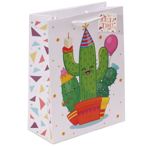 Gift Bag - Cactus Design Gift Bag 26 X 12 X 33cm - Fiesta Time!