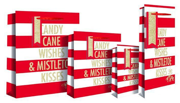 Candy Cane Wishes & Mistletoe Kisses Luxury Bottle Gift Bag 13 x 9 x 36cm - Red & White Candy Stripe