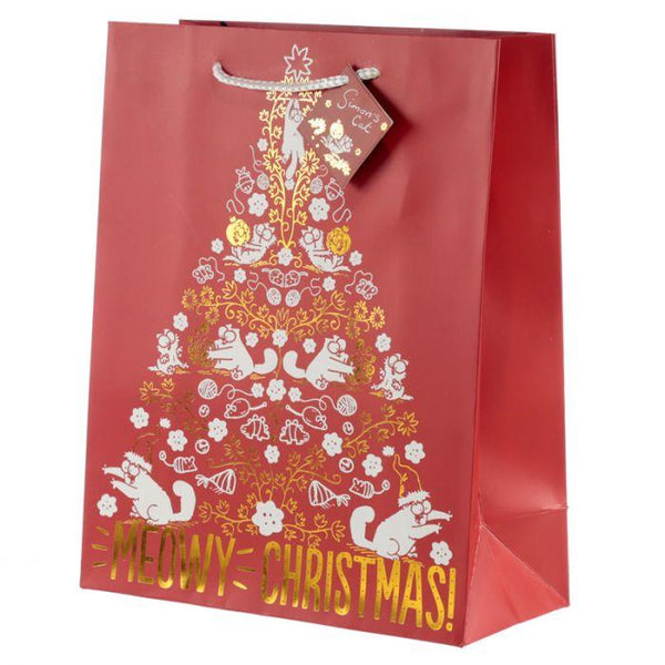 Cat Meowy Christmas Metallic Design Gift Bag 26 x 12 x 33cm - Large