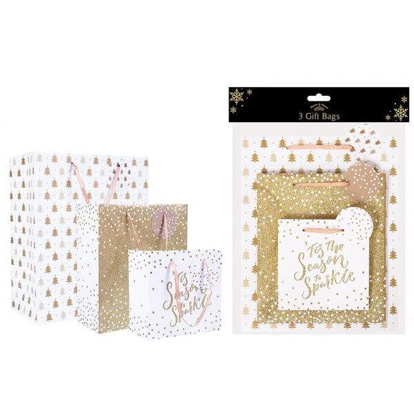 Christmas Design Gift Bags Pack of Three - Gold