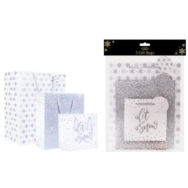 Christmas Design Gift Bags Pack of Three - Silver