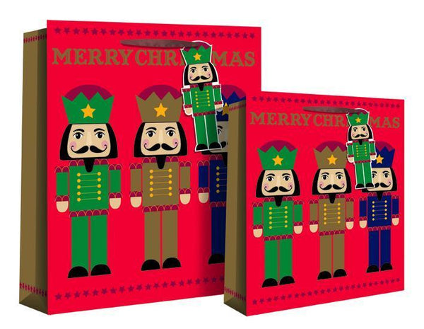 Christmas Holiday Nutcracker Soldier Design Gift Bag 25 x 22 x 10cm - Gold Foil M