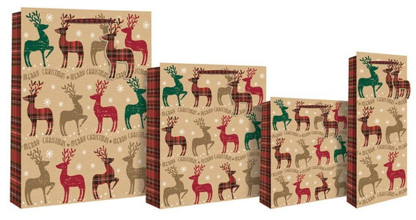 Christmas Tartan Reindeer Design Gift Bag - Red & Green Check - XL