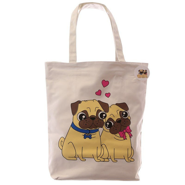 Cute Pug Design Cotton Bag with Zip & Lining