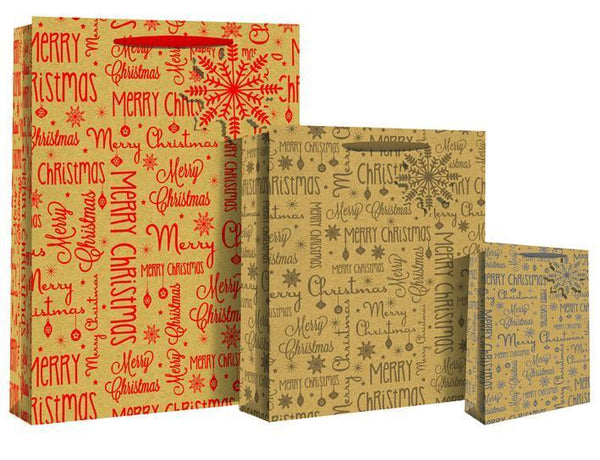 Deluxe Kraft Paper Gift Bag - Merry Christmas XL Design Bag - XL