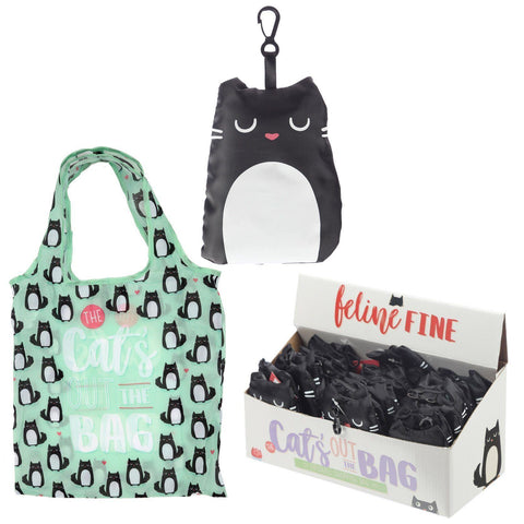 Gift Bag - Foldable Reusable Eco Friendly Shopping Bag - Feline Fine The Cats Out Of The Bag