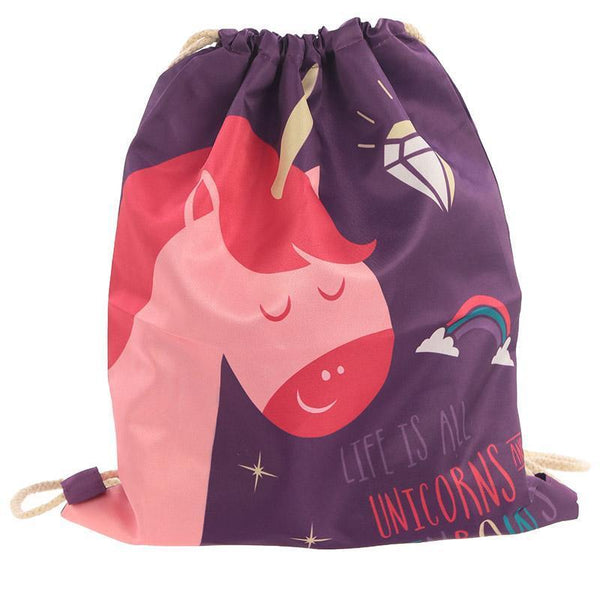 Handy Cotton Drawstring PE Gym School Bag - Unicorn