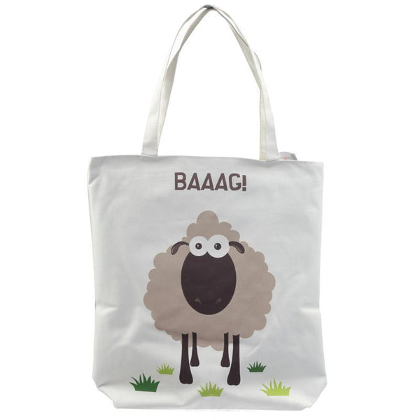 Handy Cotton Zip Up Shopping Bag - Sheep Design Baaag!