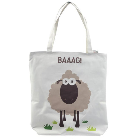 Gift Bag - Handy Cotton Zip Up Shopping Bag - Sheep Design Baaag!