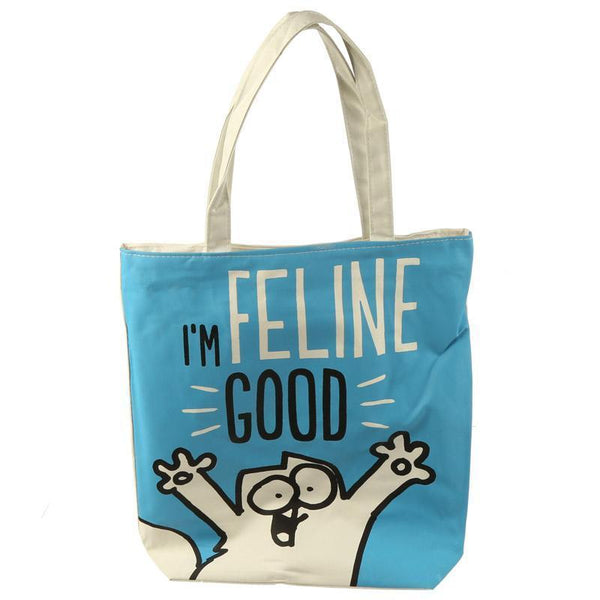 Handy Cotton Zip Up Shopping Bag - Simon's Cat Design - I'm Feline Fine!