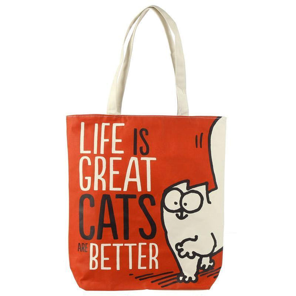 Handy Cotton Zip Up Shopping Bag - Simon's Cat - Life is Great Cats are Better!