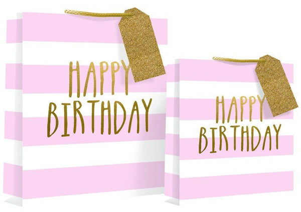 Happy Birthday Design Gift Bag 26 x 14 x 33cm - Pink Candy Stripe Large