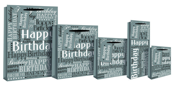 Happy Birthday Design Gift Bag 26 x 12 x 33cm - Silver Foil Medium