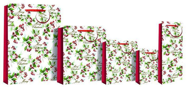 Merry Christmas Holly Bottle Gift Bag 36 x 13 x 9cm - Foiled Red Berries Deluxe