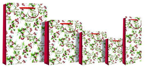 Gift Bag - Merry Christmas Holly Bottle Gift Bag 36 X 13 X 9cm - Foiled Red Berries Deluxe