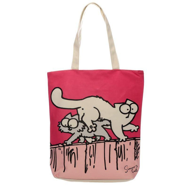 New Pink Cat Design Cotton Bag with Zip & Lining