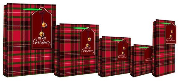 Red Xmas Tartan Design Gift Bottle Bag with twin bells - Red & Green Check