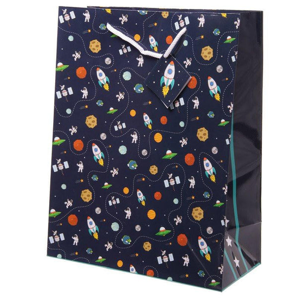 Rocket and Planet Design Gift Bag 26 x 12 x 33cm