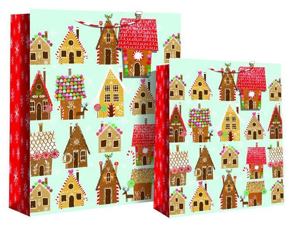 Xmas Ginger Bread Houses Gift Bag 22 x 10 x 26cm - Foiled Candy Medium