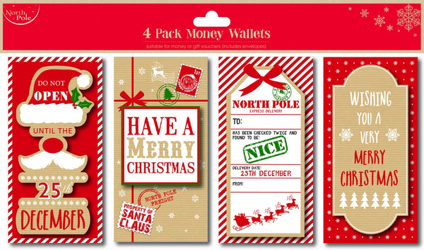 4PK Money or Gift Card Wallets & Envelopes - Christmas Design - Pack of 4