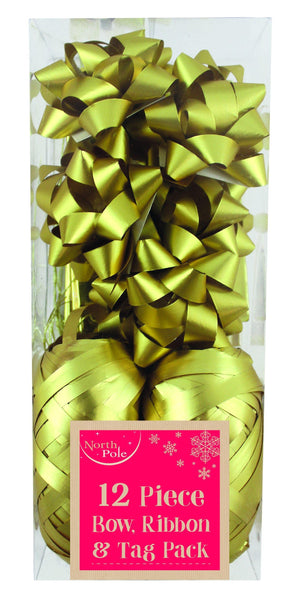 12pc - Metallic Gold Gift Wrapping Bow, Ribbon & Tag Pack - 12 Piece