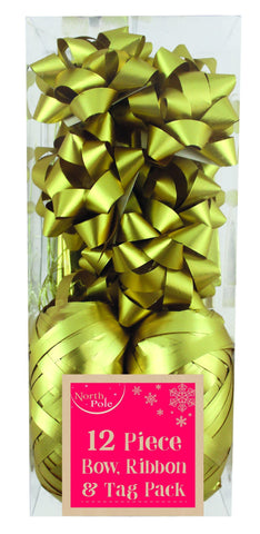 Gift Wrap - 12pc - Metallic Gold Gift Wrapping Bow, Ribbon & Tag Pack - 12 Piece