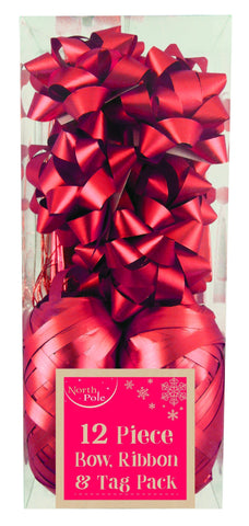 Gift Wrap - 12pc - Metallic Red Gift Wrapping Bow, Ribbon & Tag Pack - 12 Piece