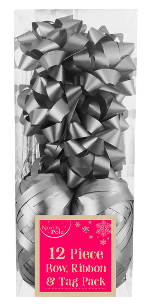 12pc - Metallic Silver Gift Wrapping Bow, Ribbon & Tag Pack - 12 Piece