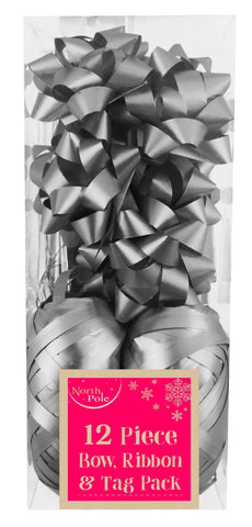 Gift Wrap - 12pc - Metallic Silver Gift Wrapping Bow, Ribbon & Tag Pack - 12 Piece