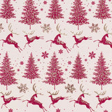 Glitter Rollwrap Paper Gift Wrap Roll - 2M - Winter Forest Reindeer Sand/Cranberry on Alabaster