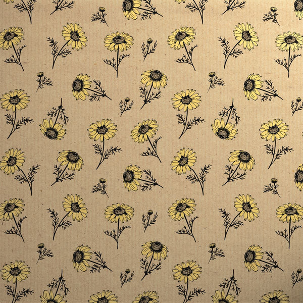 Printed Kraft Paper Gift Wrap Pack 1 Roll - 2M - Botanical Daisy Yellow