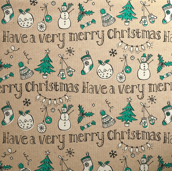 Printed Kraft Paper Gift Wrap Pack 1 Roll - 3M - Doodles Christmas Green Very Merry