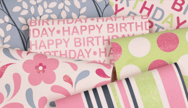 Glitter Rollwrap Paper Gift Wrap Roll - 2M - Happy Birthday Iridescent Pink