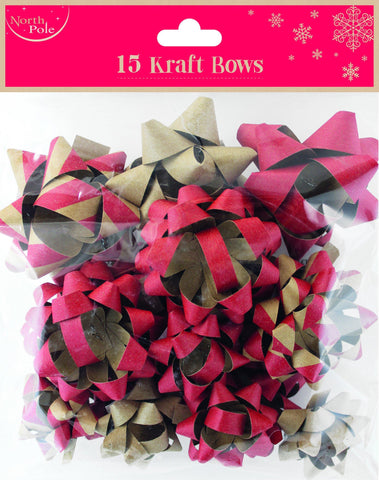 Kraft Paper - 15 Pack Deluxe Christmas Gift Bows Brown Paper Red Kraft Bow Quality Bows - Pk15