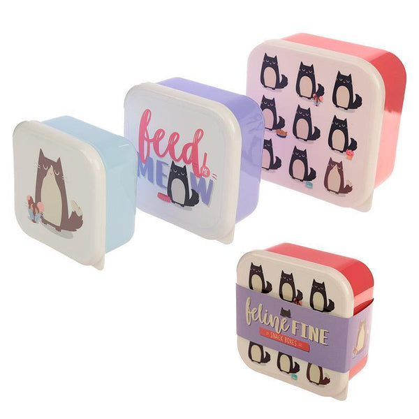Feline Fine Cat - Set of 3 Nested Snack Pots - Feed Me Meow!