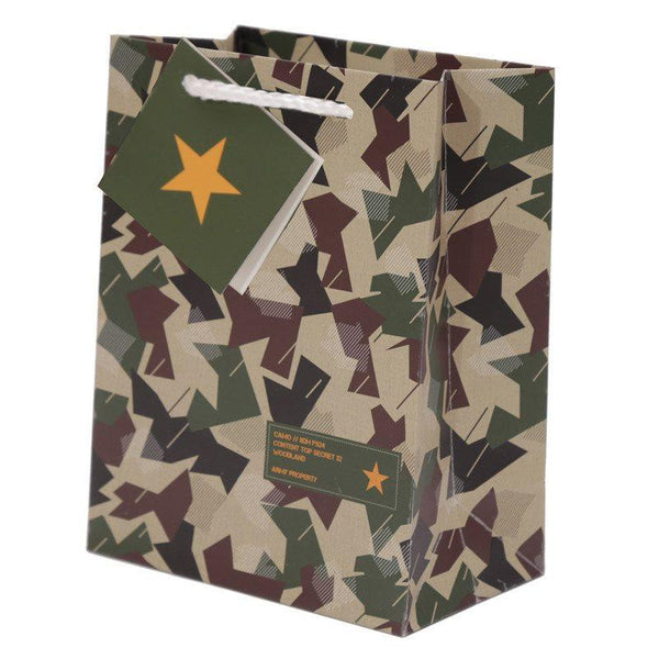 Pack of 6 - Camouflage Design Party Gift Bags 14 x 6 x 11cm (Pk6)