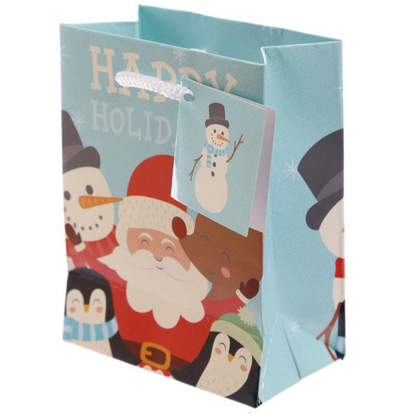Pack of 6 - Christmas - Happy Holidays Party Gift Bags 14 x 6 x 11cm (Pk6)