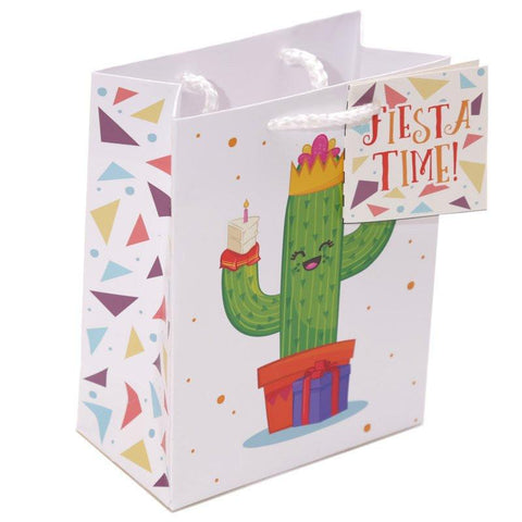 Pack Of 6 Gift Bags - Pack Of 6 - Fun Cactus Party Gift Bags 14 X 6 X 11cm (Pk6) - Fiesta Time!