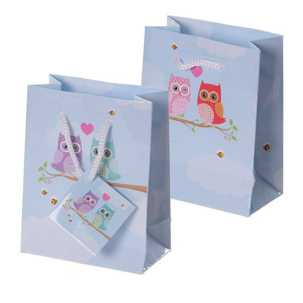 Pack of 6 - Love Owls Party Gift Bags 14 x 6 x 11cm (Pk6)