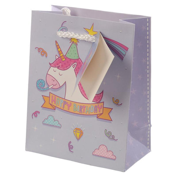 Pack of 6 - Rainbow Unicorn Design Gift Party Bags 14 x 6 x 11cm (Pk6)