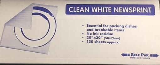 Clean White Wrapping & Packing Newspaper - Pack (150 )