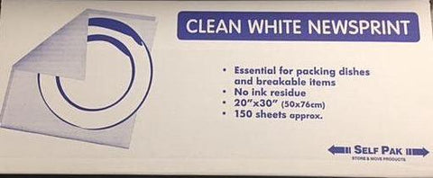 Packing Supplies - Clean White Wrapping & Packing Newspaper - Pack (150 )