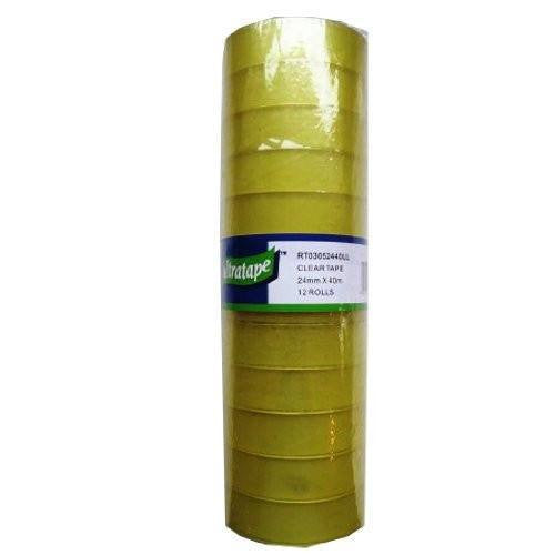 12 Roll Pack - Ultratape Clear Adhesive Tape 24mm x 40M - Pk12
