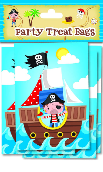 10 Pack Blue Pirate Treat Bags - Partyware - 10PK