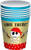 8 Pack Blue Pirate Paper Cups - Partyware - 8PK 9OZ