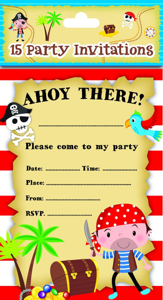 8 Pack Blue Pirate Party Invitations - Partyware - 8PK
